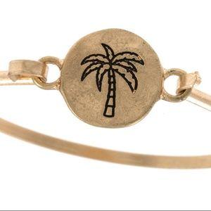 Jewelry - Palm Tree etched disk bangle bracelet - Gold